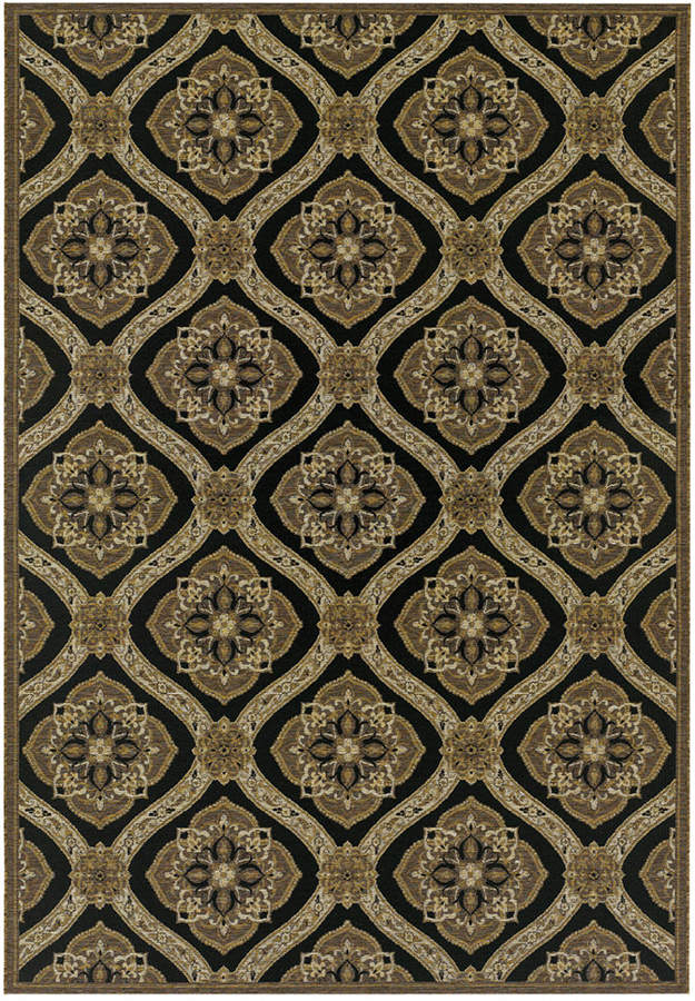 "Couristan Couristan Indoor/Outdoor Runner Rug, Dolce 4075/0195 Napoli Black-Gold 2'3"" x 7'10"""