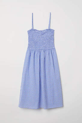 H&M Dress with Smocking - Blue/white checked - Women