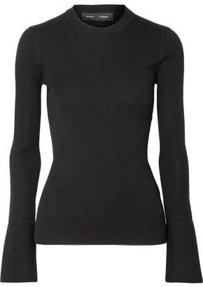 Proenza Schouler Ribbed Silk-blend Sweater - Black