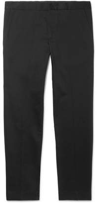 Sandro Cropped Tapered Stretch-Cotton Gabardine Chinos - Black