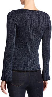 Neiman Marcus Metallic Ribbed Crisscross Sweater