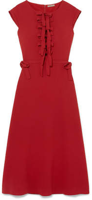 Bottega Veneta Bow-detailed Crepe Midi Dress - Red