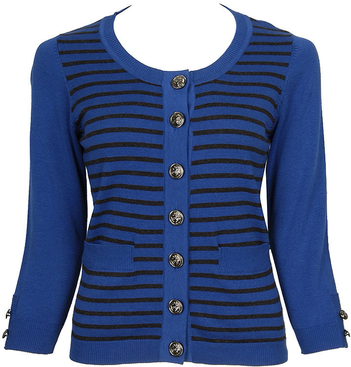 Anchor Button Striped Cardigan