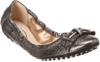 Tod's Metallic Leather Ballerina Flat
