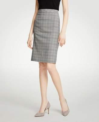 Ann Taylor Glen Plaid Flounce Back Pencil Skirt