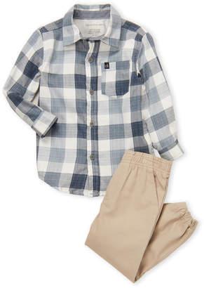 Calvin Klein Jeans Toddler Boys) Two-Piece Plaid Shirt & Khaki Joggers Set