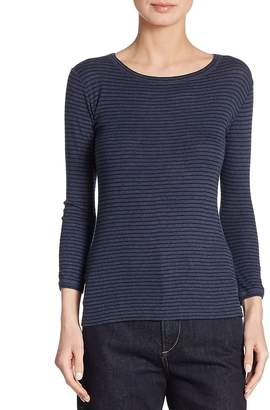 Vince Women's Striped Boatneck Pima Cotton Tee