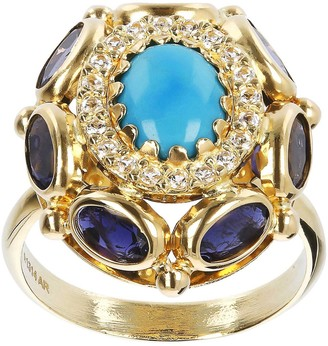 Arte D'oro Arte d' Oro Turquoise and Gemstone Oval Ring, 18K