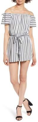 One Clothing Stripe Off the Shoulder Romper