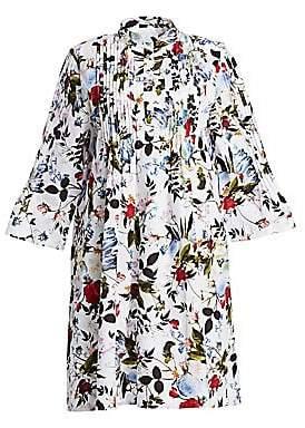 Erdem Women's Reagan Floral Plisse A-Line Shirt Dress
