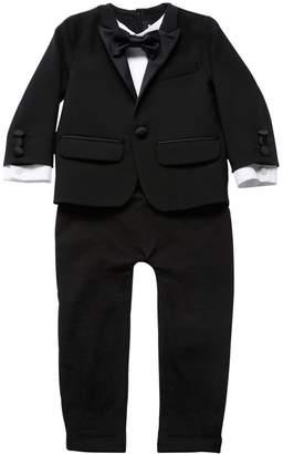 DSQUARED2 Jersey & Cool Wool Tuxedo Romper