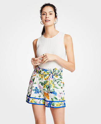 Ann Taylor Vintage Floral Pleated Tie Waist Shorts