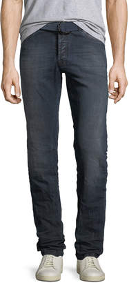 Kiton Men's Limited Edition Dark-Wash Straight-Leg Jeans with D-Ring Belt