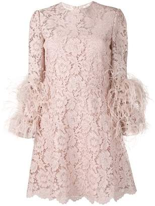 356a5974c15 Valentino Feather Round Neck Lace Mini Dress