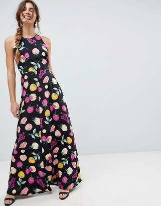 Asos Design Open Back Halter Maxi Dress In Fruit Print