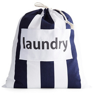 """Laundry"" Drawstring Bag, Navy Stripe"