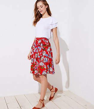 LOFT Summer Blossom Tie Waist Midi Skirt