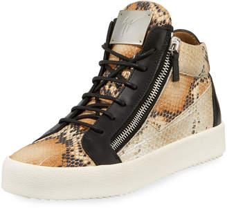 Giuseppe Zanotti Men's Snake-Print Mid-Top Sneaker