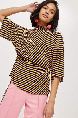Topshop Striped Tuck Waist Blouse