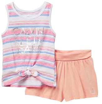 Calvin Klein Striped Graphic Tie Front Tank Top & Shorts Set (Little Girls)