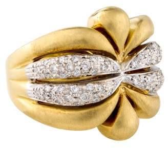 Ring 18K Diamond Ornate Cocktail