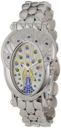 Brillier レディース18 – 11ロイヤルPlume Peacock Inspired純正ブルーサファイア腕時計
