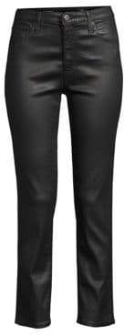 AG Jeans Isabelle Leatherette High-Rise Straight Crop Jeans