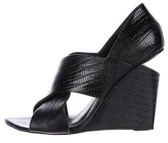 Alexander Wang Embossed Leather Crossover Wedges