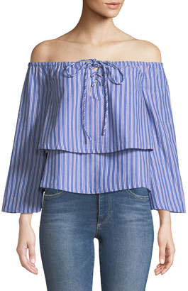 J.o.a. Off-The-Shoulder Lace-Up Blouse