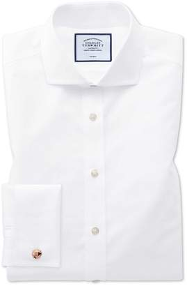 Charles Tyrwhitt Extra Slim Fit White Non-Iron Poplin Spread Collar Cotton Dress Shirt French Cuff Size 14.5/33
