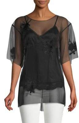 Helmut Lang Orchid Embroidered Top