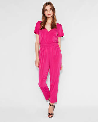 Express Flutter Sleeve Surplice Jumpsuit