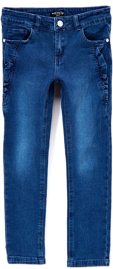 Dark Wash Ruffle Detail Stretch Jeans - Toddler & Girls
