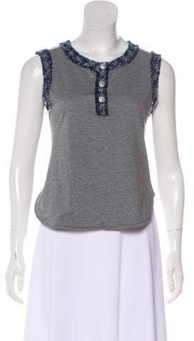 Chanel Tweed-Trimmed Sleeveless Top
