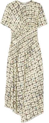 Preen Line Keziah Asymmetric Floral-print Crepe De Chine Midi Dress - Pastel yellow