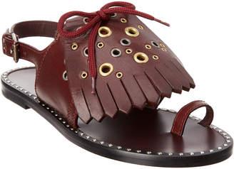 Burberry Kiltie Fringe Leather Sandal