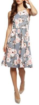 Dex Floral-Print Fit Flare Dress