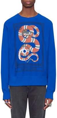 Gucci Snake Stamp Graphic Crewneck Sweatshirt