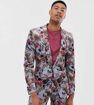 Asos Design DESIGN Tall super skinny suit jacket in blue floral print velvet