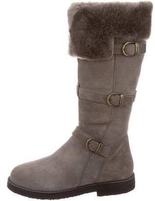 Santoni Shearling-Lined Knee-High Boots w/ Tags