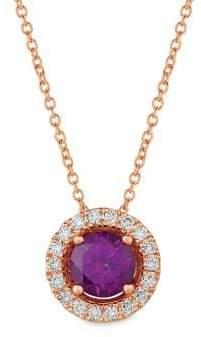 LeVian Le Vian Purple Garnet and 14K Strawberry Gold? Pendant Necklace