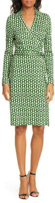 Diane von Furstenberg New Jeanne Two Long Sleeve Silk Wrap Dress