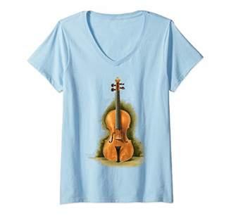 Womens Vintage Violin Violinist Violin Player Gift Orchestra String V-Neck T-Shirt