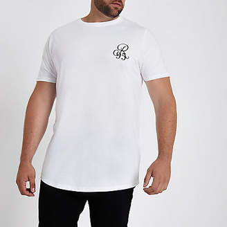 River Island Big and Tall white muscle fit curve hem T-shirt