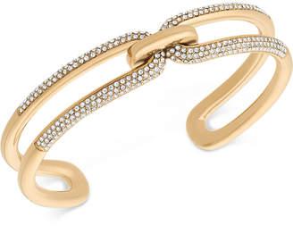 Michael Kors Black Ion-Plated Pavé Link Cuff Bracelet