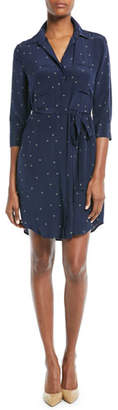 L'Agence Stella Long-Sleeve Star-Print Silk Shirtdress