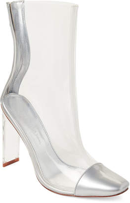 Wild Diva Lounge Silver Renzo PVC Ankle Booties