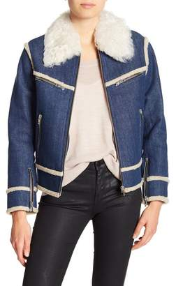 Rag & Bone Andrew Genuine Dyed Lamb Shearling Collar, Trim, & Lined Denim Jacket