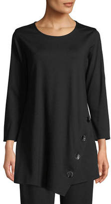 Caroline Rose 3/4-Sleeve Easy-Fit Ponte Luxe Tunic w/ Matte Metal Buttons