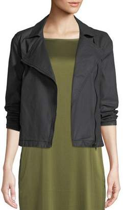 Eileen Fisher Waxed Organic Cotton Moto Jacket, Petite